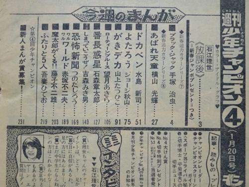 ブラック・ジャック-快楽の座-チャンピオン1975年4号目次